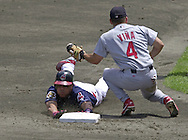 July 7, 2001 - Cleveland, Ohio - Cleveland Indians second baseman Roberto Alomar steals second base in a MLB game against the St. Louis Cardinals at Jacobs Field in Cleveland Ohio. Alomar was elected to the National Baseball Hall of Fame on Jan. 6, 2011.