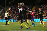 Yaya Toure of Manchester City ® celebrates after scoring his sides 2nd goal with Kevin De Bruyne of Manchester City. Premier League match, Crystal Palace v Manchester city at Selhurst Park in London on Saturday 19th November 2016. pic by John Patrick Fletcher, Andrew Orchard sports photography.