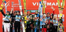 Second placed team Slovenia: Jerneja Brecl of Slovenia, Spela Rogelj of Slovenia, Nika Kriznar of Slovenia. Ursa Bogataj of Slovenia, winning team Germany: Carina Vogt of Germany, Anna Rupprecht of Germany, Juliane Seyfarth of Germany, Katharina Althaus of Germany and third placed team Austria: Jacqueline Seifriedsberger of Austria, Lisa Eder of Austria, Chiara Hoelzl of Austria, Eva Pinkelnig of Austria celebrate during Trophy ceremony after the Team Competition at Day 2 of World Cup Ski Jumping Ladies Ljubno 2019, on February 9, 2019 in Ljubno ob Savinji, Slovenia. Photo by Matic Ritonja / Sportida