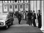 EEC Leaders Meet At Dublin Castle.   (N4)..1979..29.11.1979..11.29.1979..29th November 1979..At Dublin Castle the leaders of the countries within the EEC held a summit conference to discuss issues which would affect the EEC over the forthcoming years..Image of Mr Pierre Werner,Luxembourg arriving at the EEC Leaders Summit in Dublin Castle.