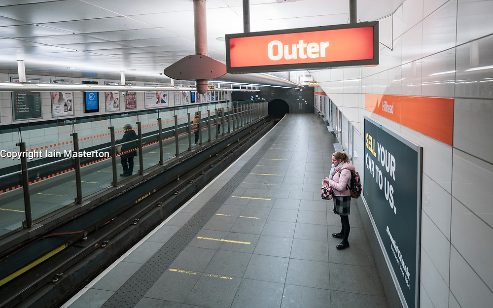 Glasgow, Scotland, UK.1 December 2020. Glasgow remains under level 4 lockdown and non essential businesses, bars and restaurants are closed. Pictured; Hillhead subway station is very quiet.  Iain Masterton/Alamy Live News