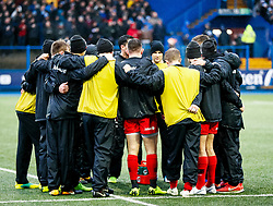 Saracens backs huddle during the pre match warm up<br /> <br /> Photographer Simon King/Replay Images<br /> <br /> European Rugby Champions Cup Round 4 - Cardiff Blues v Saracens - Saturday 15th December 2018 - Cardiff Arms Park - Cardiff<br /> <br /> World Copyright © Replay Images . All rights reserved. info@replayimages.co.uk - http://replayimages.co.uk