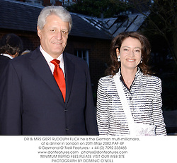 DR & MRS GERT RUDOLPH FLICK he is the German multi-millionaire, at a dinner in London on 20th May 2002.PAF 49