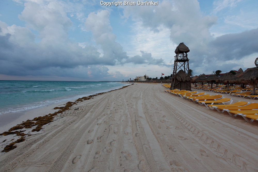 The beach in the morning at the Iberostar Del Mar in Rivera Maya, Mexico