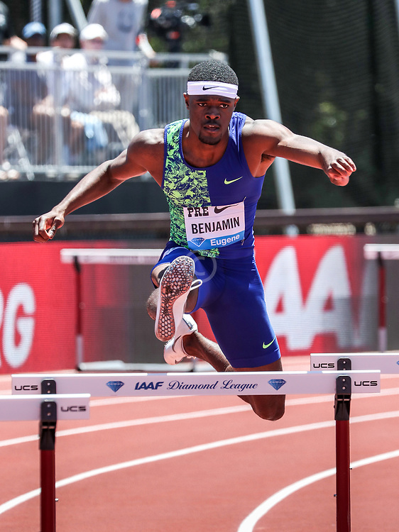 Rai Benjamin, USA, wins mens 400 meter hurdles in world-leading time of 47.16, new meet record, 2019 The Prefontaine Classic Track & Field<br /> IAAF Diamond League