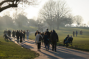 A day after London Mayor Sadiq Khan announced the spread of Covid is said to be out of control, South Londoners take their exercise in a cold Brockwell Park in Lambeth and during the third pandemic lockdown, on 9th January 2021, in London, England. The Coronavirus infection rate in London has exceeded 1,000 per 100,000 people, based on the latest figures from Public Health England although the Office for National Statistics recently estimated as many as one in 30 Londoners has coronavirus.