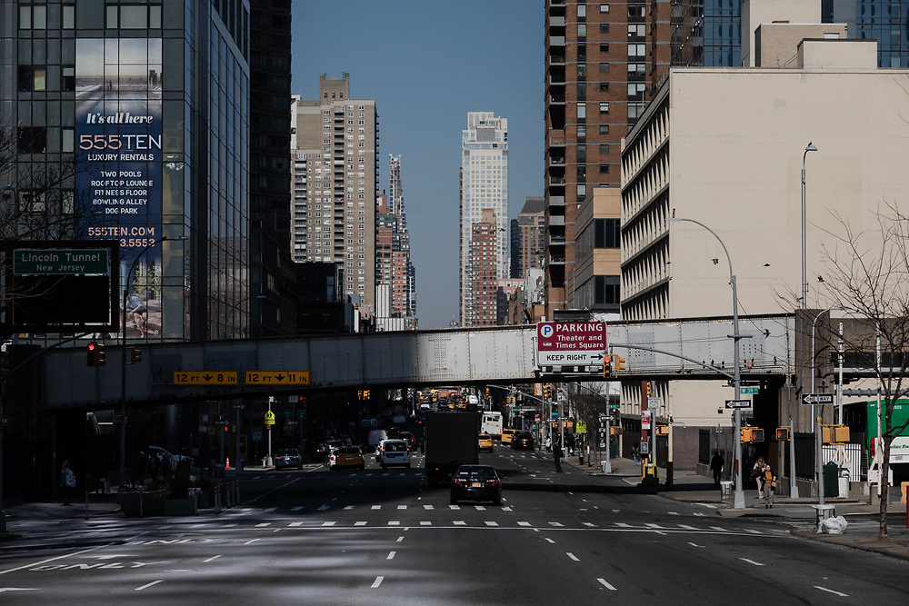 New York's 10th Avenue on a bright sunny day in the city.