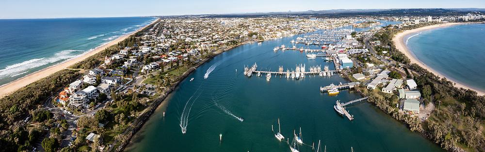 Panoramic aerial view of boats on the Mooloolah River, Mooloolaba, Sunshine Coast, Queensland, Australia
