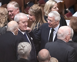 Former Prime Minister Brian Mulroney of Canada, left, and former Prime Minister John Major of Great Britain, right, converse prior to the start of the National funeral service in honor of the late former United States President George H.W. Bush at the Washington National Cathedral in Washington, DC on Wednesday, December 5, 2018.<br /> Photo by Ron Sachs / CNP/ABACAPRESS.COM