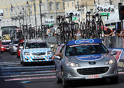 Cars of cycling teams at finish line of 2nd stage of 92nd Giro d'Italia in Trieste, on May 10, 2009, in Trieste, Italia.  (Photo by Vid Ponikvar / Sportida)