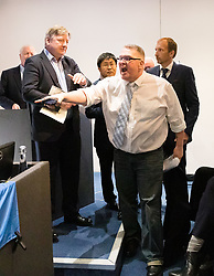 "© Licensed to London News Pictures. 10/06/2019. London, UK.  A heckler takes over the podium after Tory leadership candidate, Esther McVey made a pro Brexit speech about ""Taking Back Control of Britain's EU Exit"" at a Bruges Group event held in Westminster. Many of the Tory leadership candidates are holding launch events in the capital today. Photo credit: Vickie Flores/LNP"