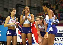 Team Great Britain win silver at the Women's 4x400m Relay Final during day three of the European Indoor Athletics Championships at the Emirates Arena, Glasgow.