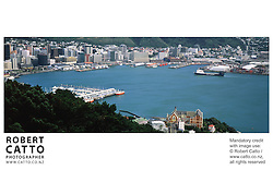 A panoramic view of Wellington City and the harbour, from the summit of Mt Victoria. at Mt Victoria, Wellington, New Zealand.<br />