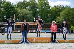 Podium Young Riders, De Koeyer Jasmien, Dijkstra Devenda, Van Zwambagt Febe<br /> Nederlands Kampioenschap<br /> Ermelo 2021<br /> © Hippo Foto - Dirk Caremans<br />  06/06/2021