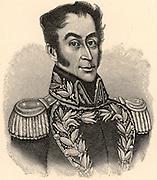 Simon Bolivar, the Liberator (Simon Jose Antonio de la Santisima Trinidad Bolivar Palacios y Blanco - 1783-1830) born in Caracas, Venezuela. South American revolutionary leader. Engraving.