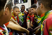 Musicians getting ready for the practice performance, from Grande Rio Samba School from the Special Group, practices their Carnival procession in the Sambadrome, Rio de Janeiro, Brazil