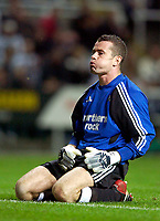 Photo. Jed Wee.<br /> Newcastle United v NAC Breda, UEFA Cup, St. James' Park, Newcastle. 24/09/2003.<br /> Whew. Newcastle goalkeeper Shay Given seems pleased with the result after a string of reverses in his teams' recent games.