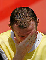 Photo: Glyn Thomas.<br />England v Paraguay. Group B, FIFA World Cup 2006. 10/06/2006.<br /> England's Wayne Rooney on the bench.