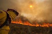 A firefighter keeps watch the wildfire along a hillside in Point Mugu , Calif. Friday, May 3, 2013..(AP Photo/Ringo H.W. Chiu)