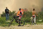 Israel, Haifa Carmel Mountain Forest, Spectators watching the fire