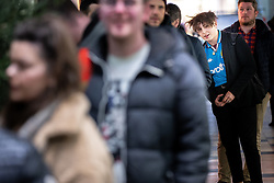 © Licensed to London News Pictures . 29/10/2018. Manchester , UK . A short queue forms as fans wait to meet former Manchester City footballer Georgi Kinkladze at a shirt and poster signing at the Classic Football Shirts shop in Barton Arcade in Manchester City Centre . Photo credit : Joel Goodman/LNP