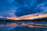 Norris Geyser Basin Sunset-Yellowstone National Park