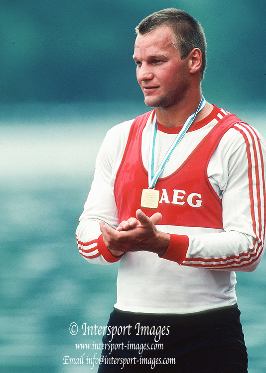 Lucerne SWITZERLAND 1992 - Lake Lake Rotsee, FISA World Cup.    GER  M1X. Thomas  LANGE,   [Mandatory Credit:  Peter Spurrier/Intersport Images].