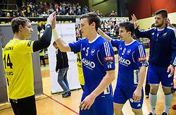 Vid Levc of RK Gorenje and Jaka Malus of RK Celje PL after the handball match between RK Gorenje and RK Celje Pivovarna Lasko in 5th Round of 1st NLB Leasing Slovenian Champions League 2015/16, on May 11, 2016, in Red arena, Velenje, Slovenia. Photo by Vid Ponikvar / Sportida