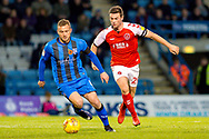 Gillingham FC midfielder Dean Parrett (8) and Fleetwood Town defender Nathan Sheron (29) during the EFL Sky Bet League 1 match between Gillingham and Fleetwood Town at the MEMS Priestfield Stadium, Gillingham, England on 3 November 2018.<br /> Photo Martin Cole