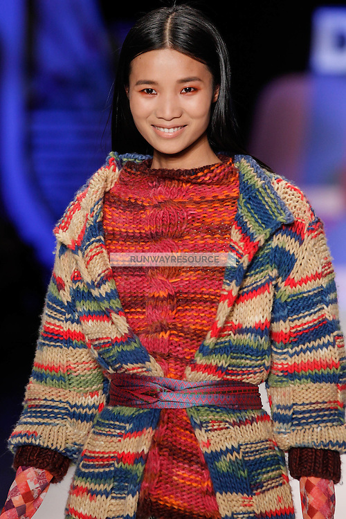 Leaf Zhang walks the runway wearing Desigual Fall 2016 during New York Fashion Week on February 11, 2016