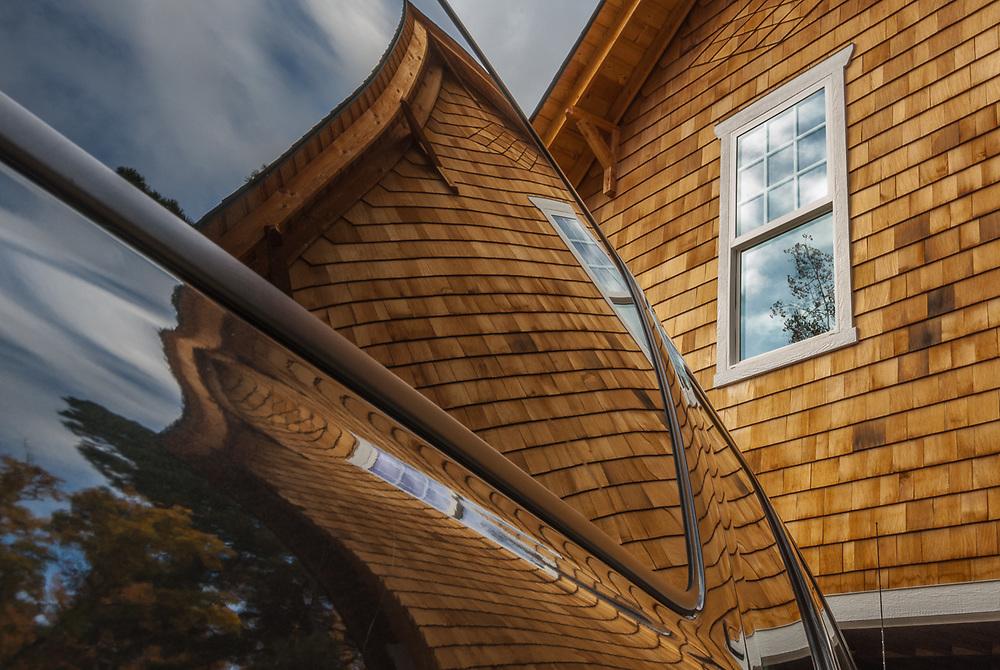 SUV window reflection, October, Aspen Carriage House, Chelan County, Leavenworth, Washington, USA