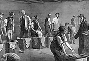 Tea warehouses of the East & West India Dock Company, London. Refilling tea chests after bulking (remixing after the journey as smaller leaves and dust worked to bottom of chests in during the passage). Wood engraving, 1874.
