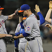 Kyle Farnsworth, (left), and Lucas Duda, New York Mets, celebrate at the end of the game during the New York Yankees V New York Mets, Subway Series game at Yankee Stadium, The Bronx, New York. 12th May 2014. Photo Tim Clayton