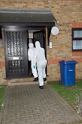 © Licensed to London News Pictures. 19/02/2014. Essex, UK. Police forensic teams remain at the property in Roseberry Road, Grays where a teenager was found stabbed to death on Monday. The victim, 14 year old Breck Bednar, from Caterham, Surrey was declared dead shortly after paramedics arrived Monday morning. Today, an 18 year old male, Lewis Daynes, appeared at Basildon Magistrates Court charged with murder.  Photo credit : Simon Ford/LNP
