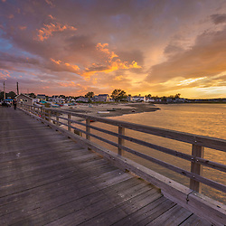 The wharf at Pine Point in Scarborough, Maine at sunset.