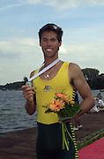 Trakai, LITHUANIA.   AUS JM1X  Silver medalist, Eugene ARENDSEN. 2002 Junior World Rowing Championships, on Lake Galva Wednesday  07/08/2002 [Mandatory Credit: Peter Spurrier/ Intersport Images] 200208 Junior World Rowing Championships, Trakai, LITHUANIA