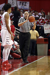 14 February 2015:   Don Daily starts the 2nd half bouncing the ball to DeVaughn Akoon-Purcell during an NCAA MVC (Missouri Valley Conference) men's basketball game between the Wichita State Shockers and the Illinois State Redbirds at Redbird Arena in Normal Illinois