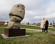 """John and Mary Pappajohn, with a sculpture from the  """"Moonrise East"""" series by Ugo Rondinone.  Shot in the John and Mary Pappajohn Sculpture Park, Des Moine, IA, for Apollo Magazine. 2009-10"""