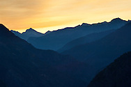 Dawn over mountains in Kings Canyon National Park, California