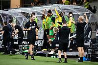 MARIBOR, Slovenia - SEPTEMBER 16: Bench of Vitesse  during the UEFA Conference League match between Mura and Vitesse at Stadion Ljudski vrt on September 16, 2021 in Maribor, Slovenia