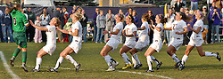 The Mavericks celebrate following Nicole Johannson's game-winning save in the 10th round of a shootout against Central Missouri. With the win, MSU advanced to the Central Region NCAA Championship.