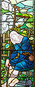 Stained glass window church of Saint Mary, Martlesham, Suffolk, England, UK by Walter J Pearce in Arts and Craft style, 1903 Shepherd and Flock
