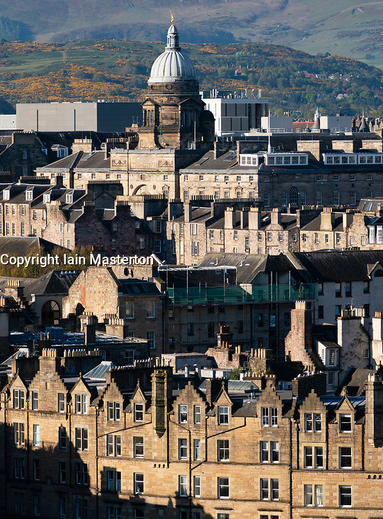View of traditional old tenement buildings in Edinburgh Old Town, Scotland, UK