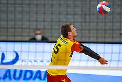 Sjoerd Hoogendoorn of Dynamo in action during the cup final between Amysoft Lycurgus vs. Draisma Dynamo on April 18, 2021 in sports hall Alfa College in Groningen
