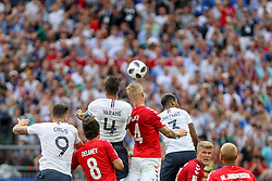June 26, 2018 - Moscow, Vazio, Russia - Raphael Varane and Simon Kjaer during the game between Denmark and France valid for the third round of group C of the 2018 World Cup, held at the Luzhniki Arena in Moscow in Russia. Denmark 0-0 France (Credit Image: © Thiago Bernardes/Pacific Press via ZUMA Wire)