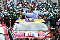 Sykkel<br /> Foto: PhotoNews/Digitalsport<br /> NORWAY ONLY<br /> <br /> Illustration picture of the peloton during race neutralisation - Prudhomme Christian of ASO cycling director during the stage 3 of the 102nd edition of the Tour de France 2015 with start in Antwerp and finish in Huy, Belgium (159 kms) *** HUY, BELGIUM - 6/07/2015