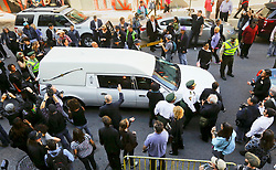 20 November 2015. Orpheum Theater, New Orleans, Louisiana. <br /> Memorial service for musician Allen Toussaint. <br /> Toussaint's hearse leaves the theater following the service.<br /> Photo; Charlie Varley/varleypix.com