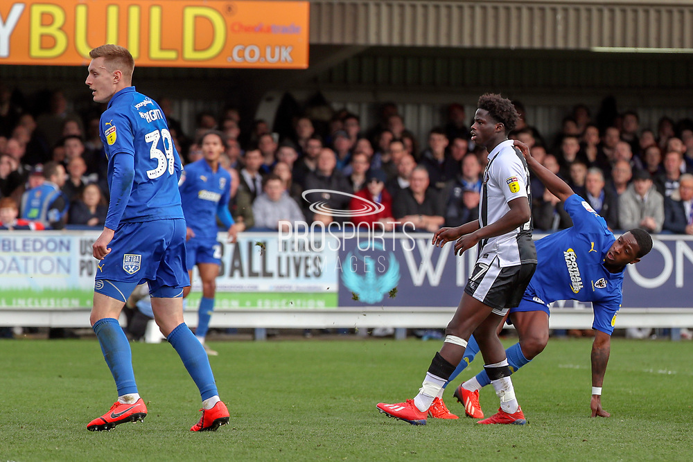 AFC Wimbledon attacker Michael Folivi (41) scoring goal to make it 1-0 during the EFL Sky Bet League 1 match between AFC Wimbledon and Gillingham at the Cherry Red Records Stadium, Kingston, England on 23 March 2019.