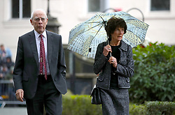 Stoke City Chairman Peter Coates and wife Deirdre Coates arrive at the funeral service for Gordon Banks at Stoke Minster.