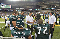 EAST RUTHERFORD, NJ - AUGUST 29: Coach Jeff Stoutland talks to players during the game against the New York Jets at MetLife Stadium on August 29, 2013 in East Rutherford, New Jersey. (Photo by Drew Hallowell/Philadelphia Eagles/Getty Images) *** Local Caption *** Jeff Stoutland